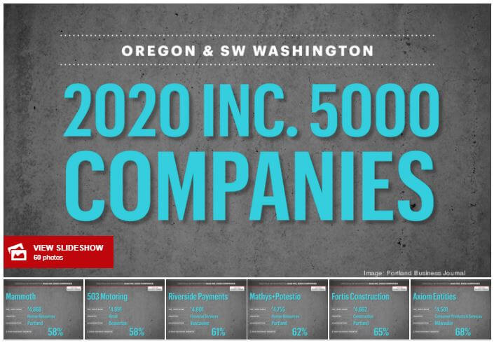 Portland Business Journal: Meet the 59 Oregon & Clark County, Washington firms on 2020's Inc. 5000 fastest-growing list